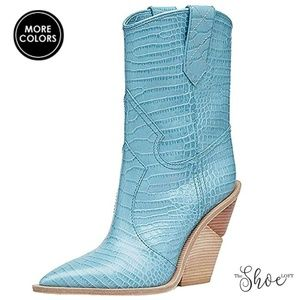 The Shoe Loft Shoes - Cutwalk Crocodile-embossed Calf Boots - Turquoise